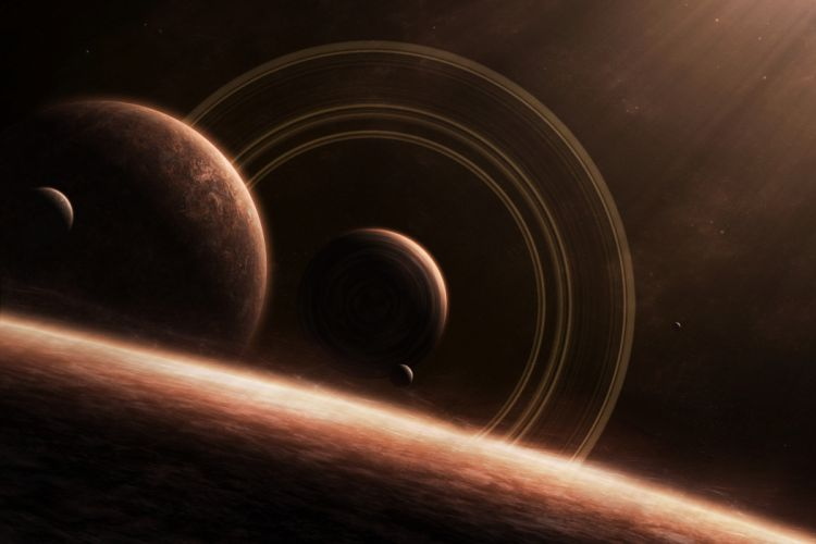 space planets moons rings stars wallpaper