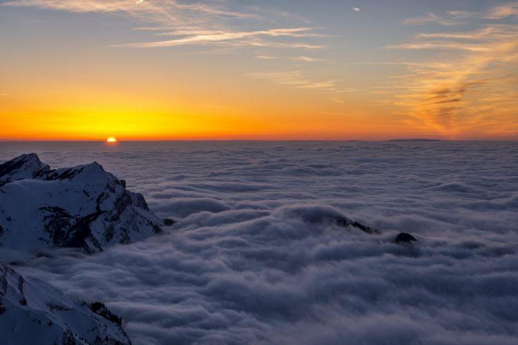 sun altitude sunset mountains clouds wallpaper