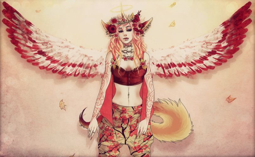 Supernatural beings Angel Wings Fantasy Girls wallpaper