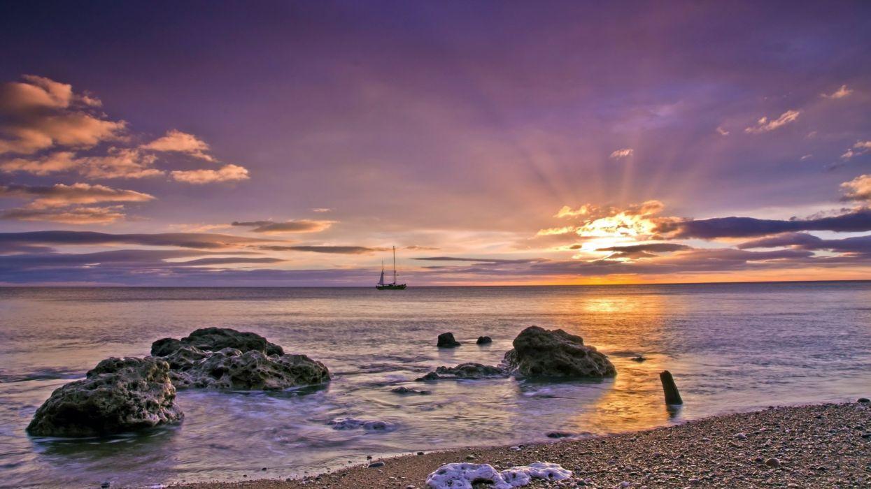 sunset landscape sea ship wallpaper
