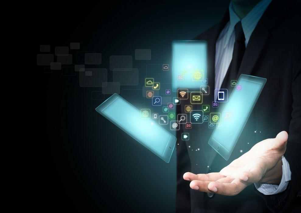 tablet smart phone hi-tech icons hand wallpaper