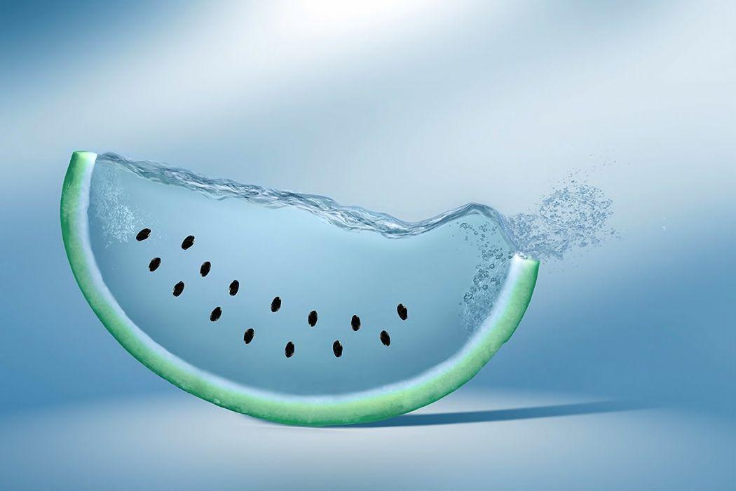 watermelon water blue background drop wallpaper