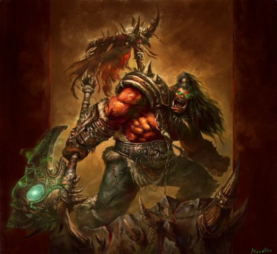 World of WarCraft ( WoW ) Warriors Orc thrall ork Battle axes Games Fantasy wallpaper