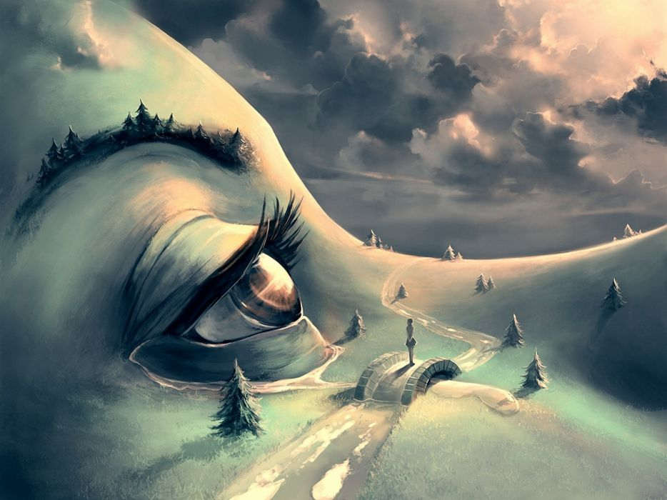 Fantastic world Eyes Cyril Rolando Fantasy mood bokeh river wallpaper
