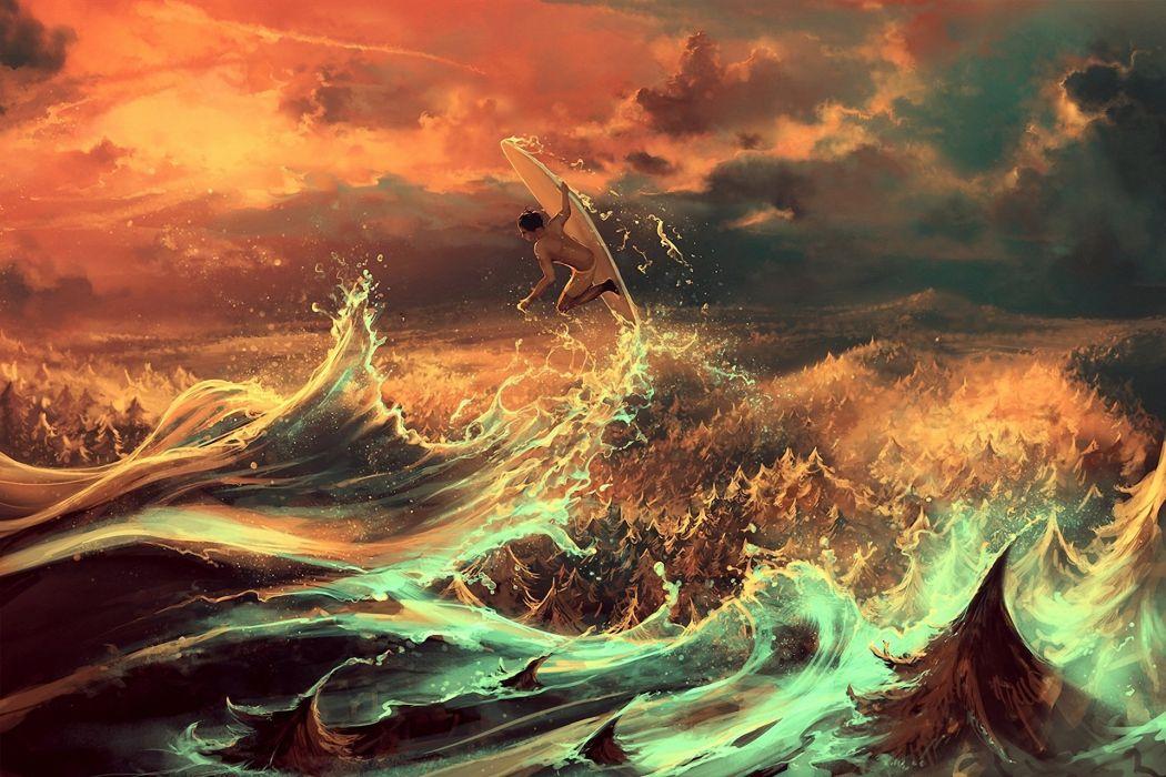 Fantastic world Waves Surfing Men Cyril Rolando Fantasy wallpaper