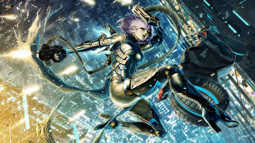 Warrior Pistol Armor Fantasy Girls cyborg plugsuit sci-fi wallpaper