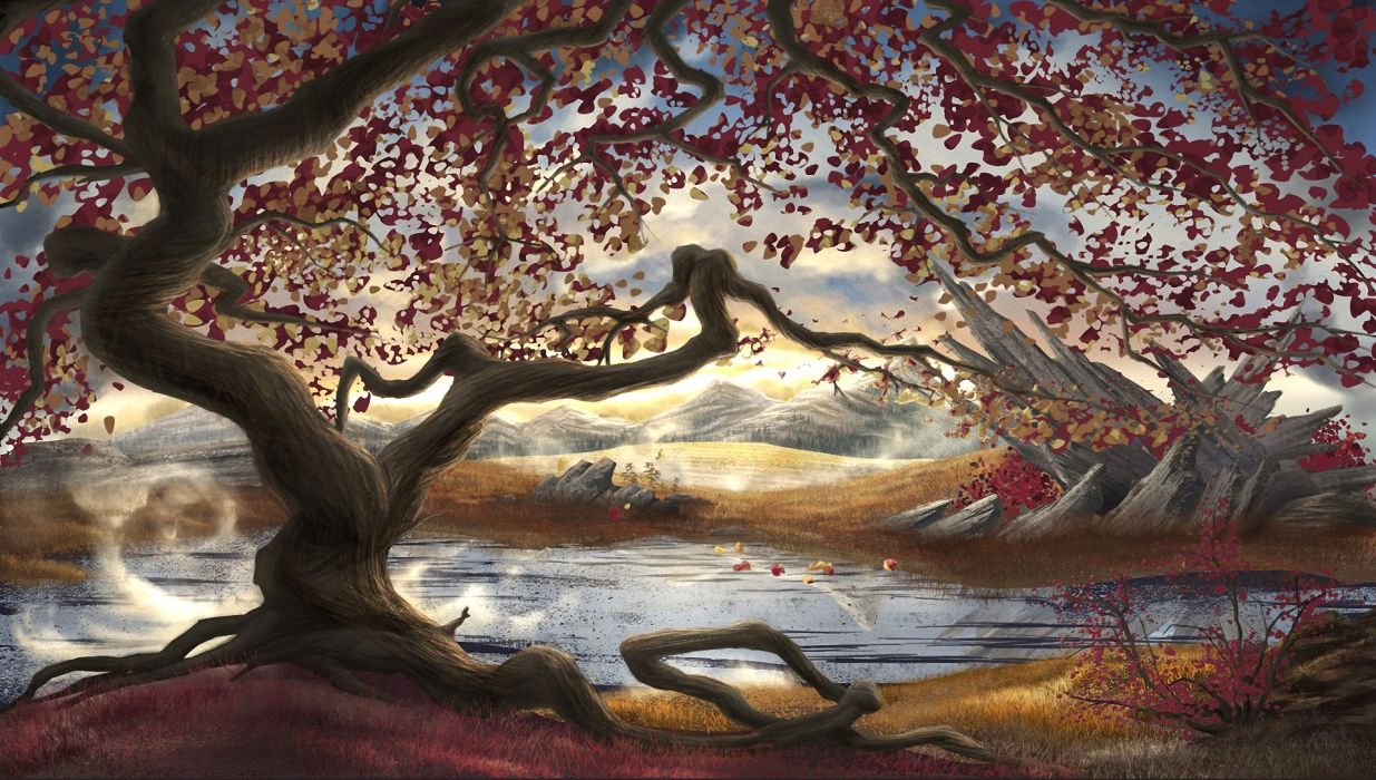 Painting Art Scenery Trees Nature autumn wallpaper