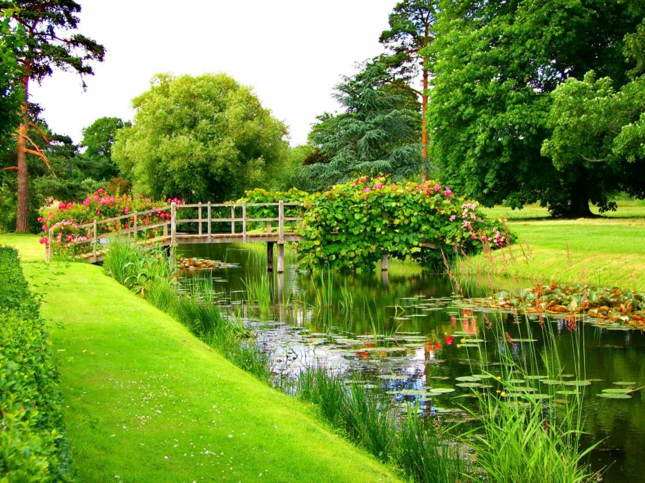 Parks Pond Bridges Hever Castle Grass Nature wallpaper