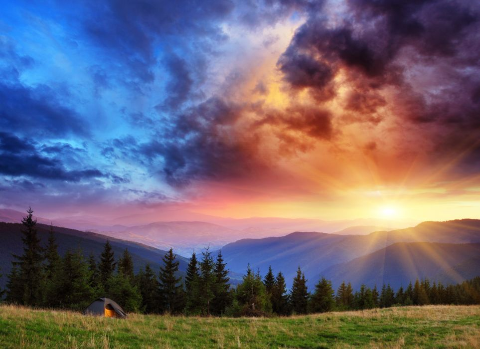 Scenery Mountains Sky Sunrises and sunsets Grass Fir Nature wallpaper