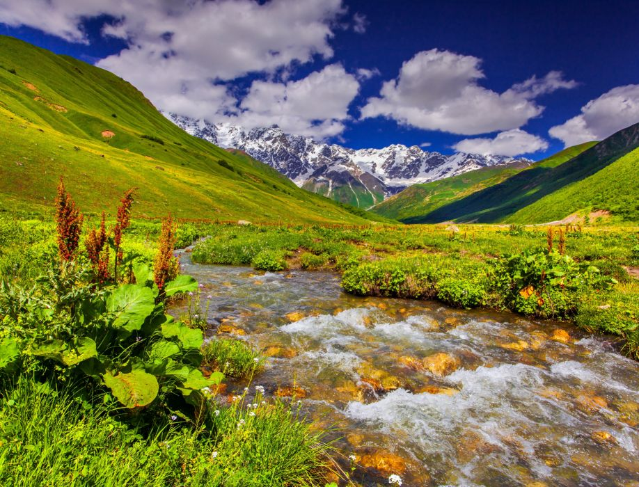 Scenery Mountains Stream Grass Clouds Nature wallpaper