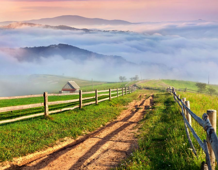 Scenery Roads Grass Fence Clouds Nature wallpaper