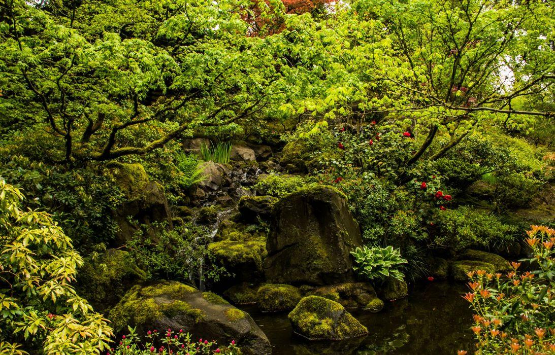 USA Gardens Stones Portland Japanese Stream Nature wallpaper