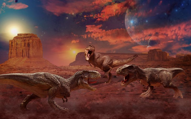 Ancient animals Dinosaur Painting Art Three wallpaper