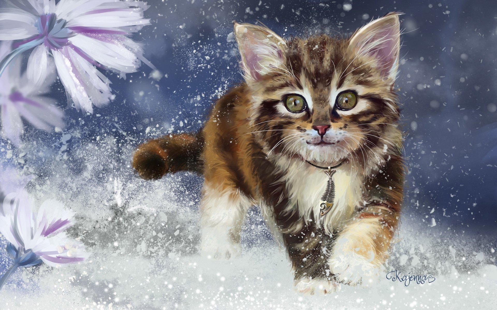 Cats Painting Art Kitten Glance Animals wallpaper ...