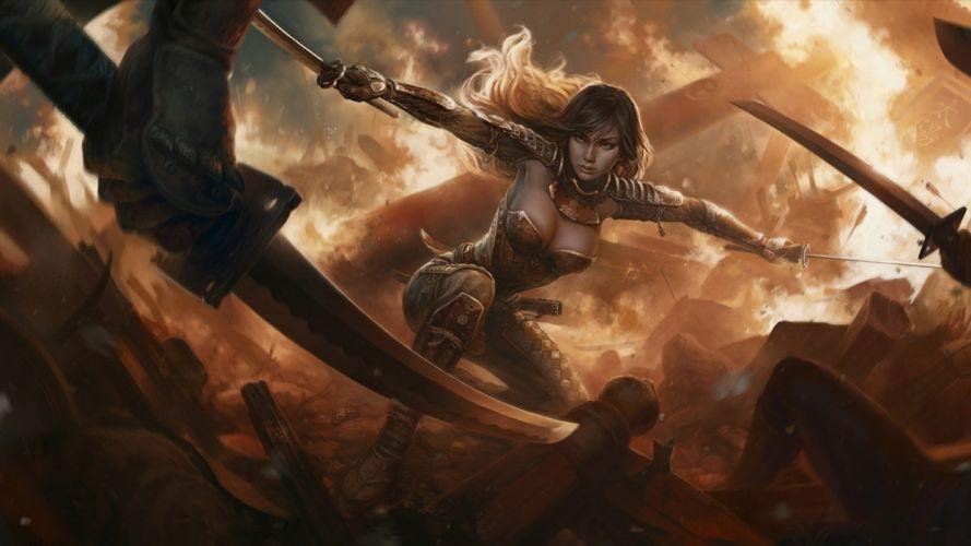 armor sword girl warrior weapon battle sexy babe wallpaper