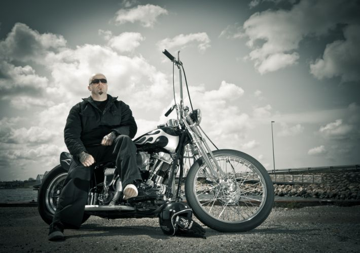 biker harley davidson chopper bike wallpaper