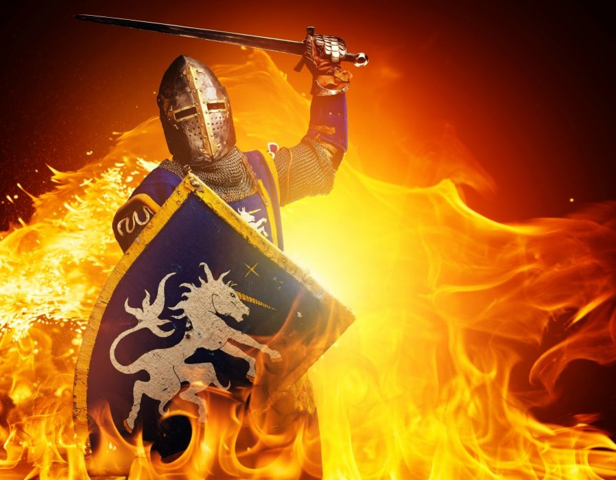 fire knight shield fire knight shield warrior armor wallpaper