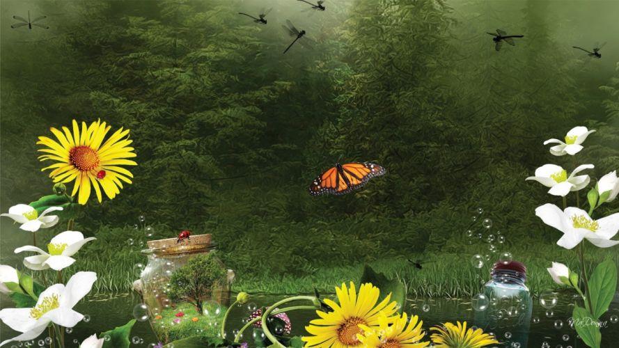 flowers forest butterfly bokeh lake bubbles creative fantasy wallpaper