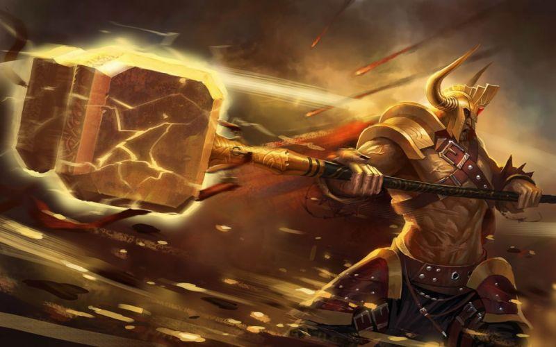 Hammer blow lightning meteors warrior wallpaper