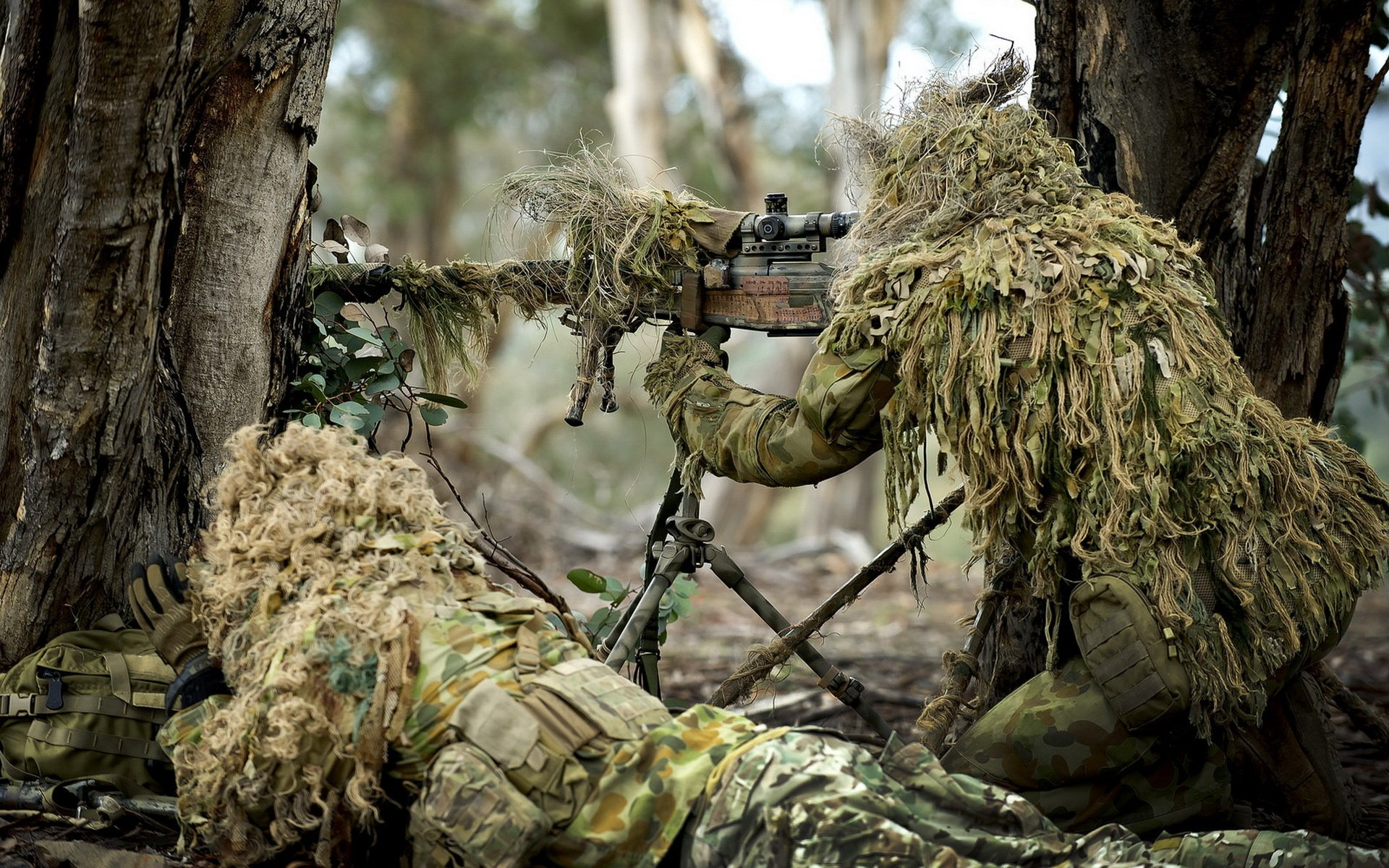 Soldier Weapon Army Gun Sniper Forest Military Wallpaper