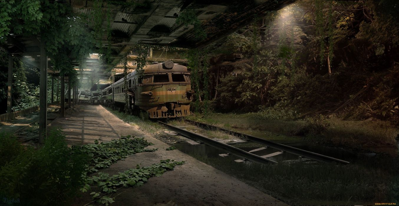 train apocalyptic sci-fi dark wallpaper