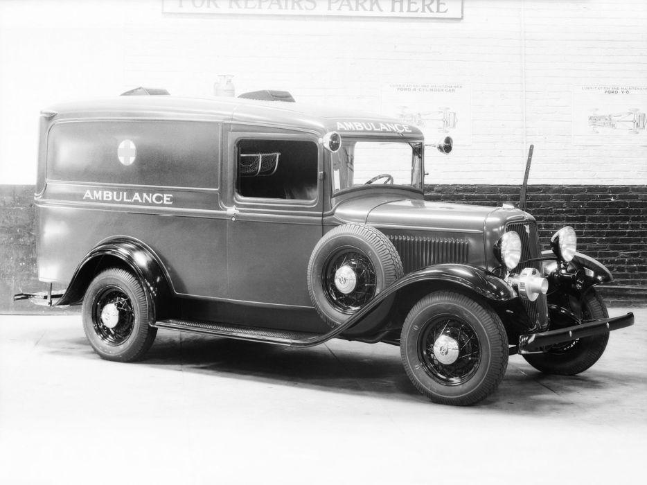 1933 Ford V-8 Model-46 Ambulance Crown stationwagon retro emergency wallpaper