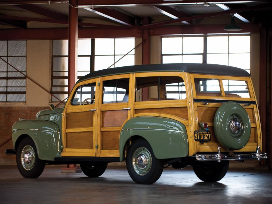 1941 Ford V-8 Super Deluxe StationWagon (11A-79B) woody retro  h wallpaper