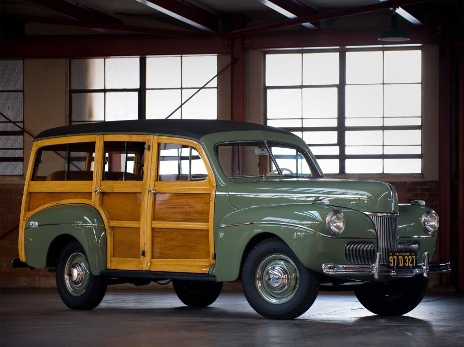 1941 Ford V-8 Super Deluxe StationWagon (11A-79B) woody retro  gd wallpaper