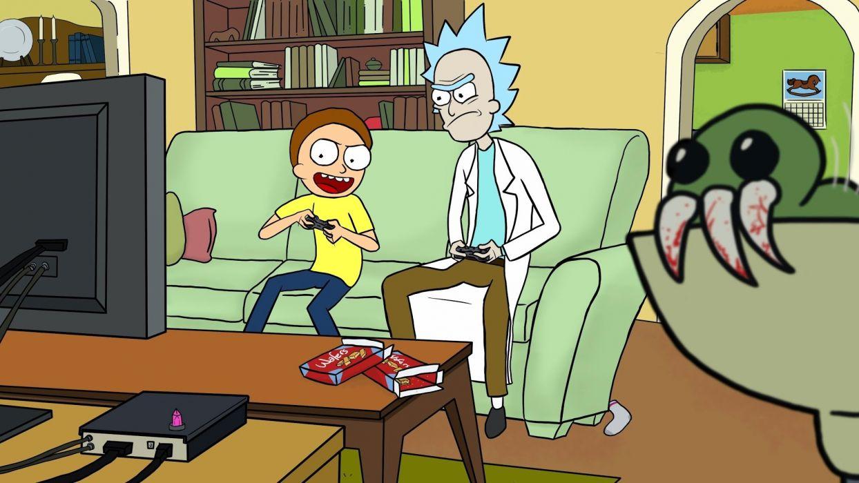 RICK AND MORTY comedy family sci-fi cartoon (12) wallpaper