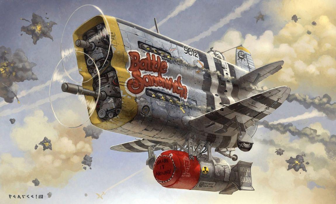 battle sandwich airplane art bomb military fighter cartoon sci-fi war fantasy wallpaper