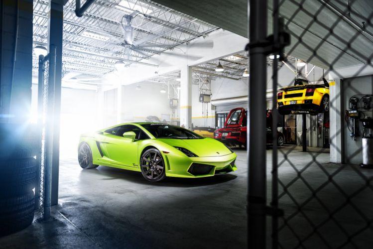 green garage gallardo lamborghini supercar wallpaper