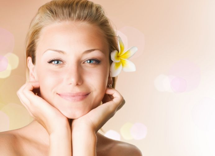 girl blonde smile flower portrait face model wallpaper