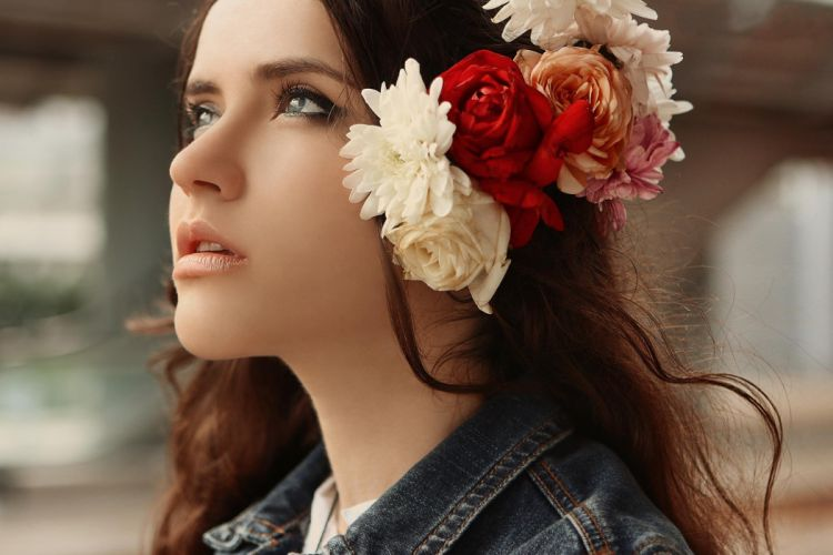 girl face beauty flowers look mood wallpaper