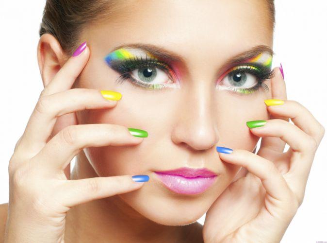 girl makeup manicure face portrait model wallpaper