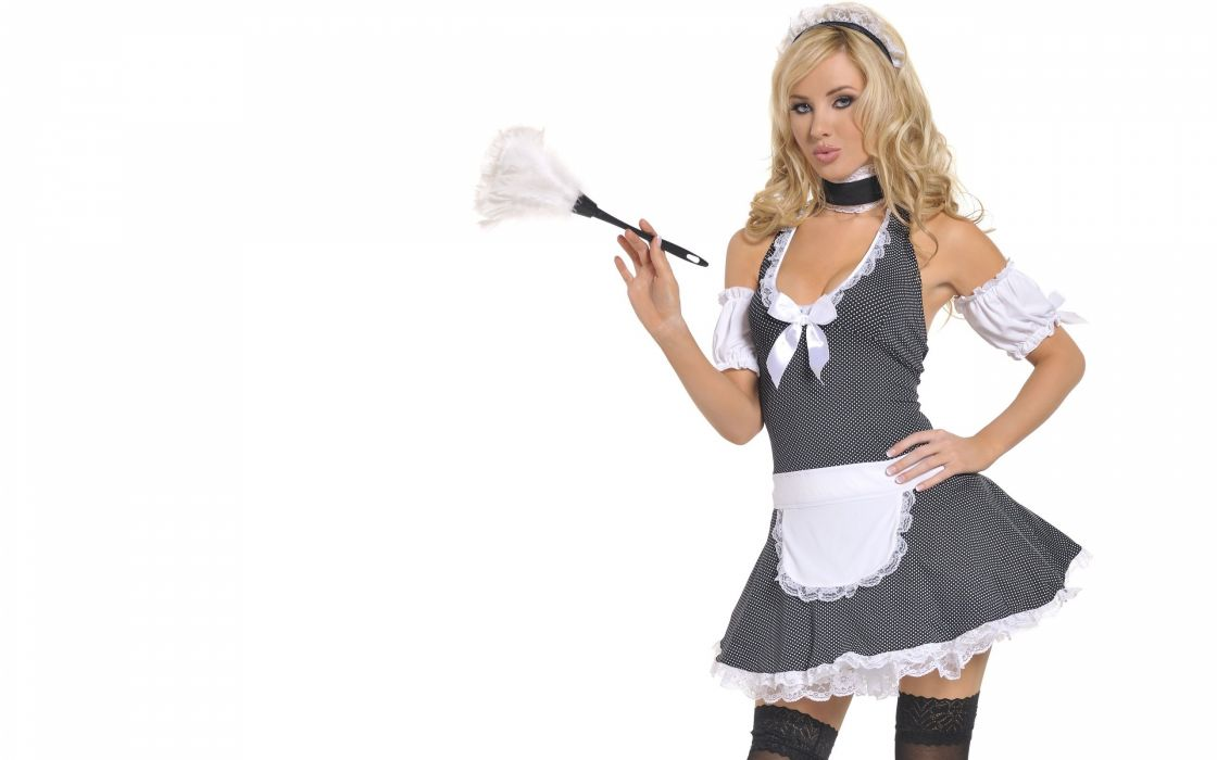 Tiffany toth girl blonde apron stockings sexy babe adult wallpaper