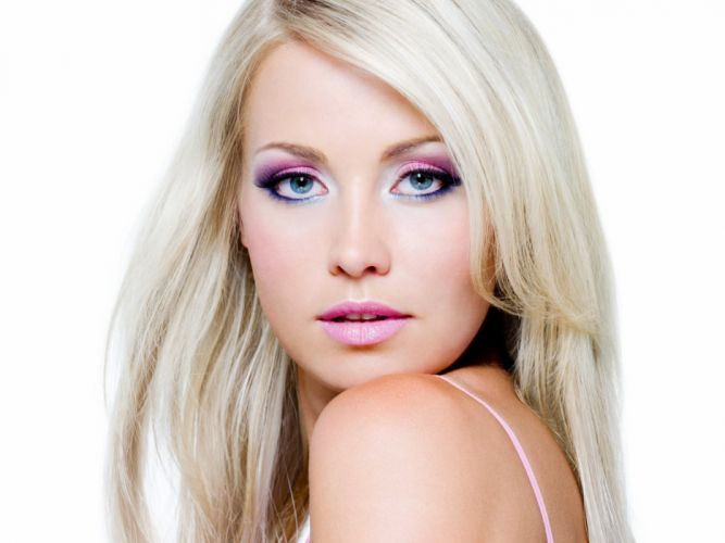 white background blonde face makeup model wallpaper