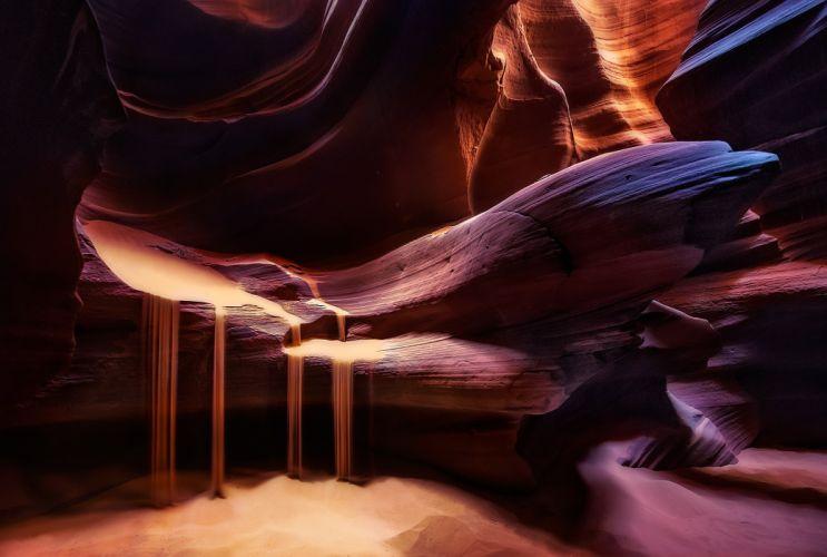 light Antelope Canyon rocks texture wallpaper