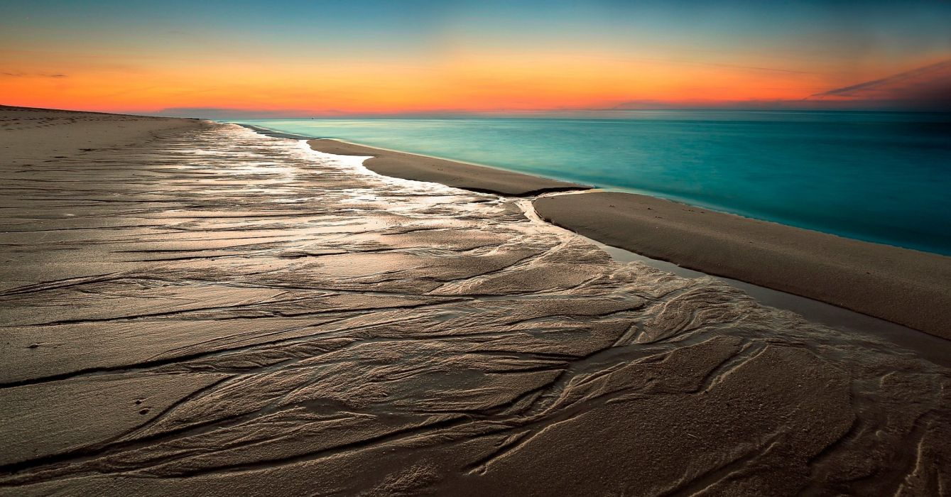 beach sand horizon sky sea ocean wallpaper