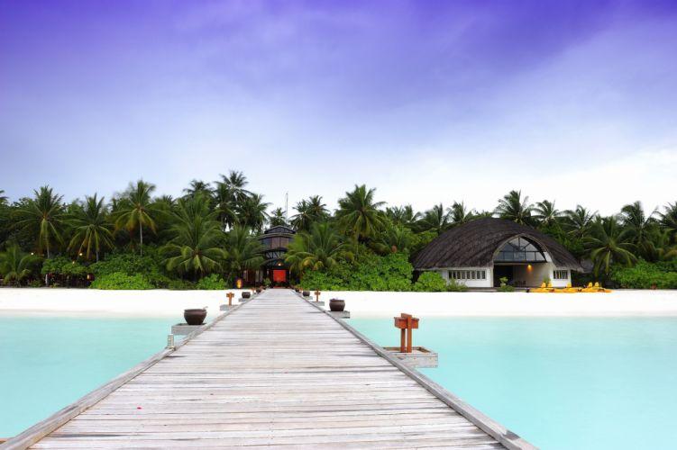 hotel maldives angsana velavaru Maldives bridge wallpaper
