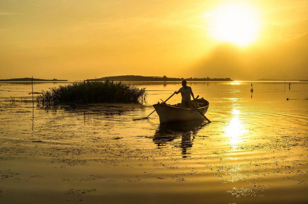 Landscape Nature Lake River Sunset Boat Sun Fishing Wallpaper