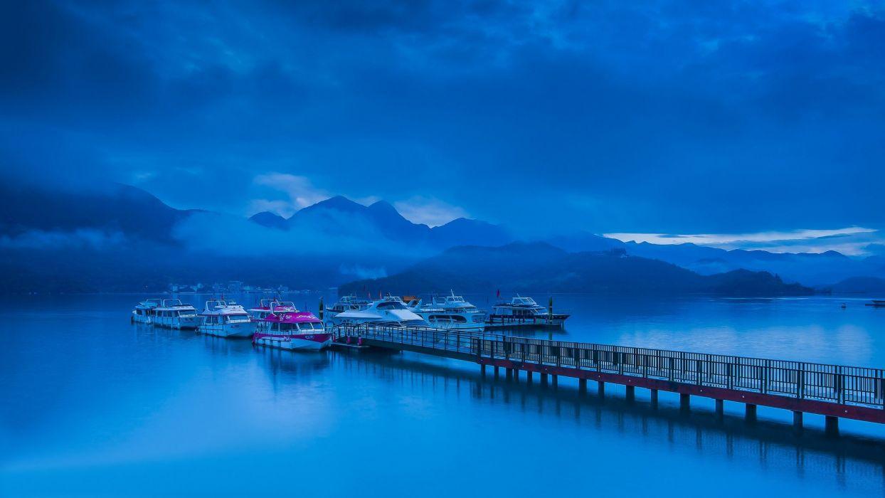 mountains pier clouds lake boat wallpaper