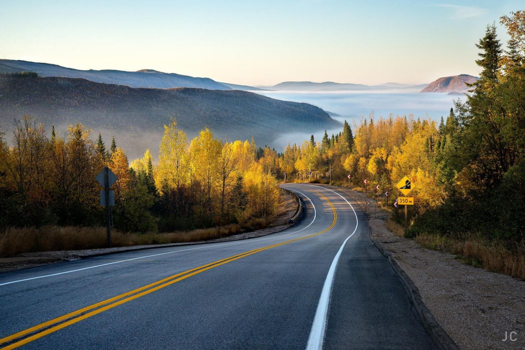 Nature Forest Road Mountain Mist Autumn Wallpaper