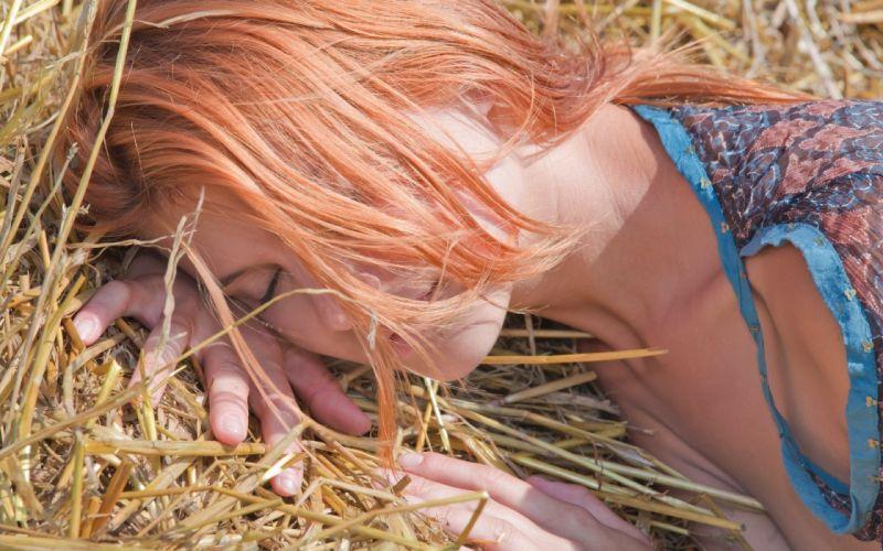 women redheads models sleeping closed eyes Violla A wallpaper