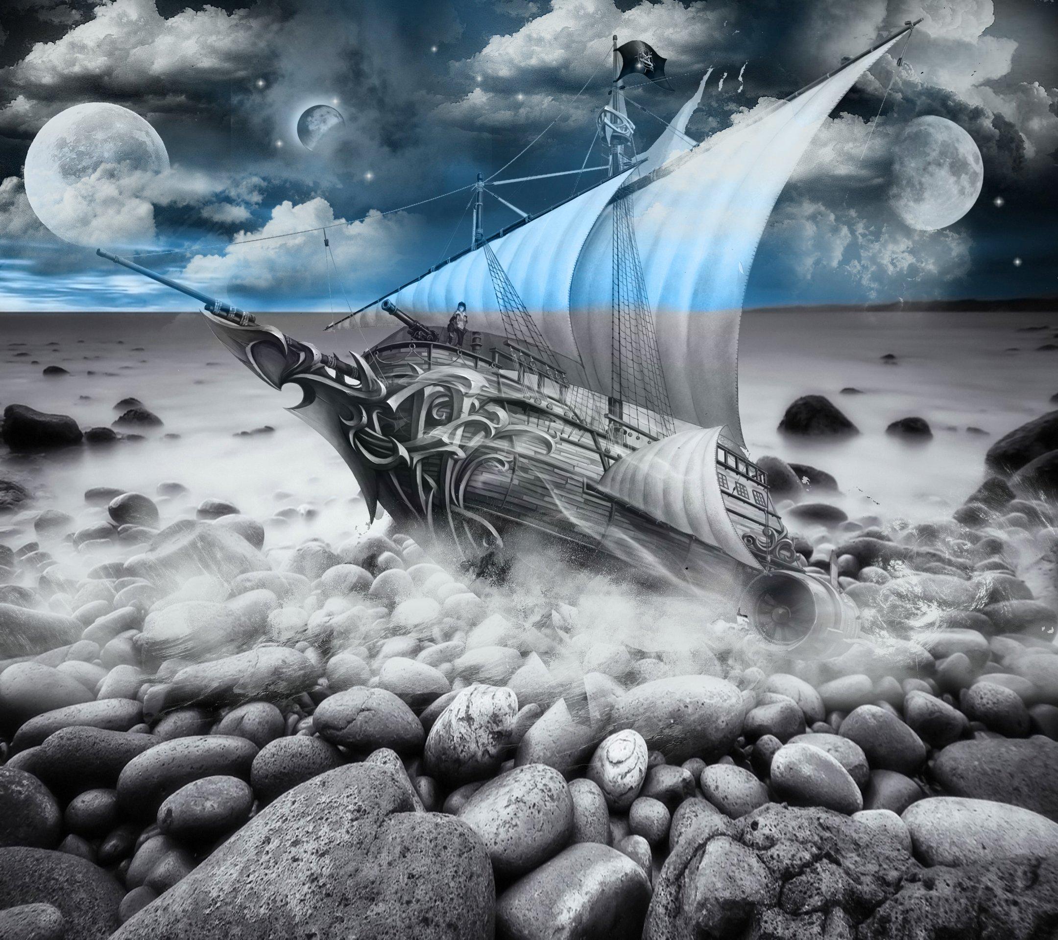 Fantasy Landscape Wallpaper: Landscape Ship Wallpaper