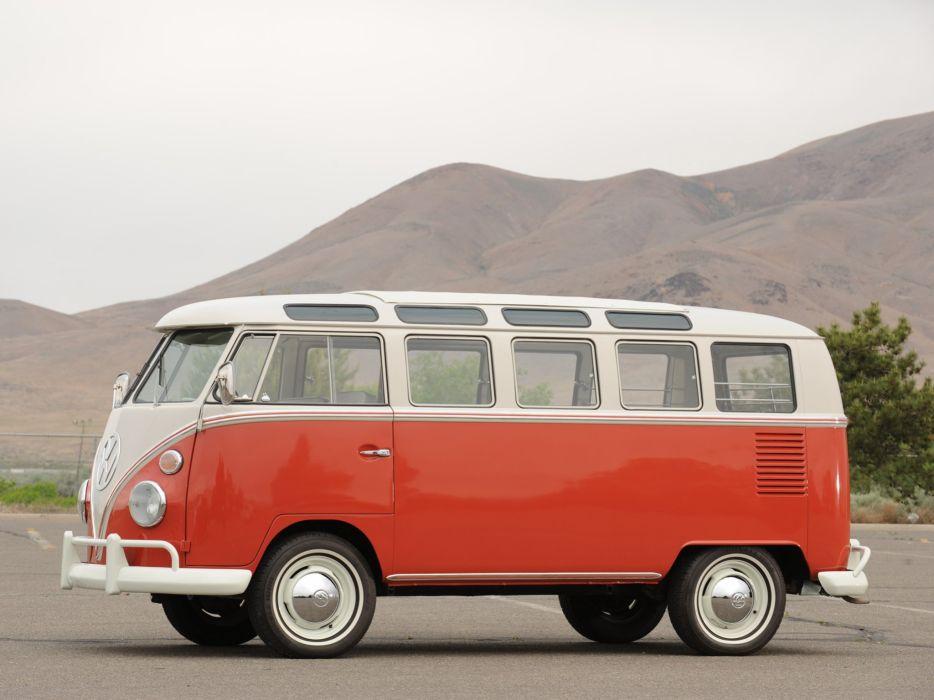 1963-67 Volkswagen T-1 Deluxe Samba Bus van classic   f wallpaper