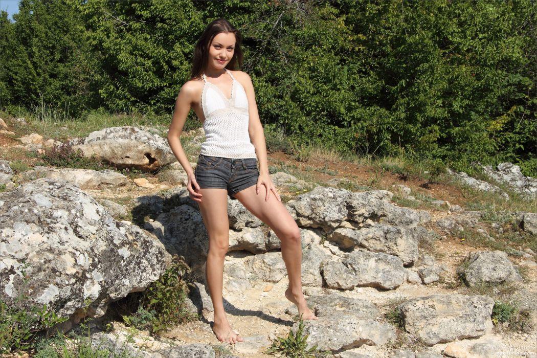 girl brunette skinny nature Marta sexy babe adult wallpaper