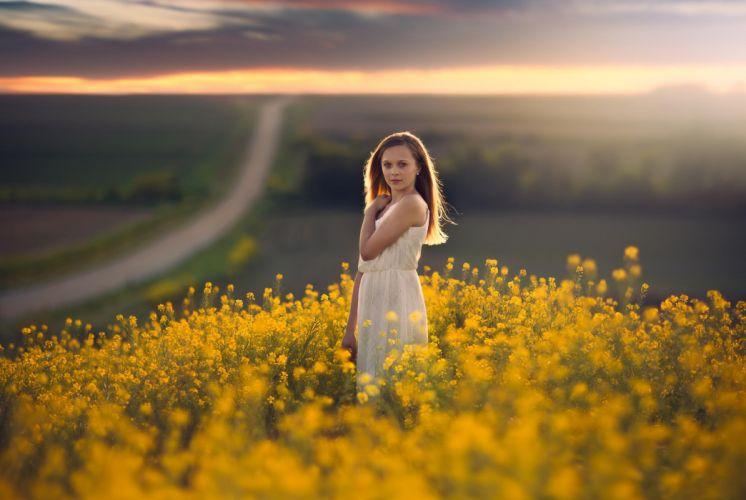woman girl field road sunset flowers beauty mood wallpaper