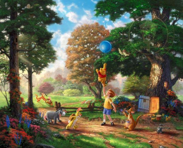 winnie pooh thomas kinkade family disney fantasy wallpaper