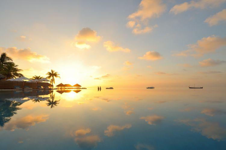 clouds Maldives sunset boat wallpaper