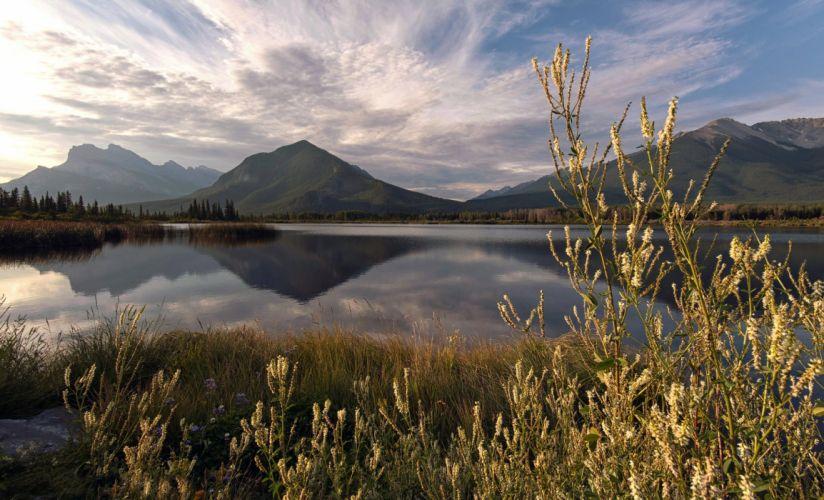 mountain lake reflection summer wallpaper